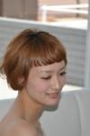 summer ショートボブ。アシュアプリコットオレンジのカラーをON! 軽やかスタイル。 小顔効果NO1!!